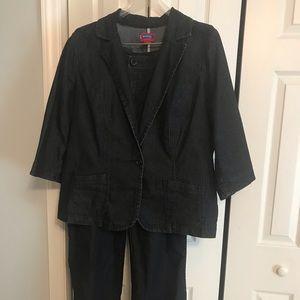 2 piece dark jean jacket and jean pants